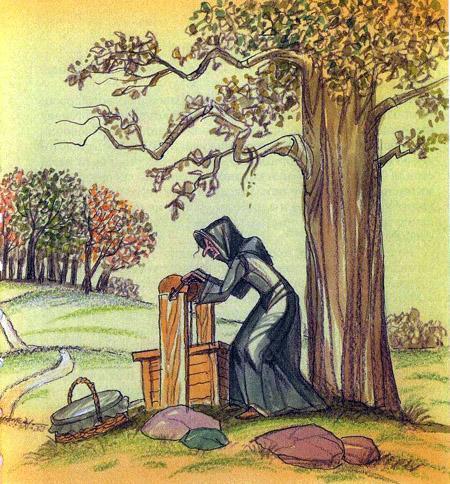 старушка у колодца набирает воду