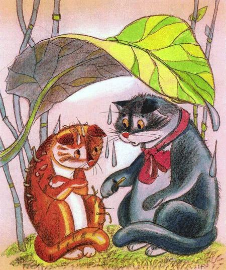 кот и кошка под листом укрылись от дождя