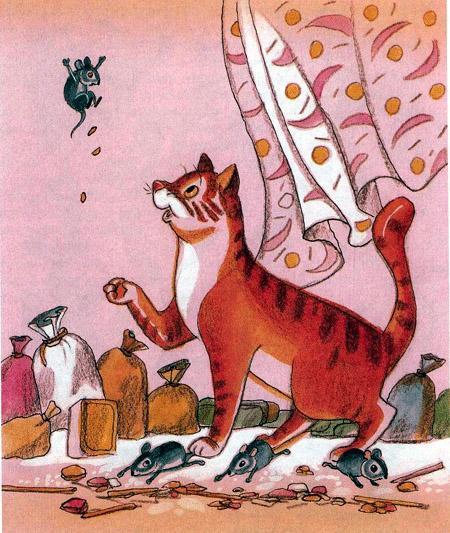 кошка поймала мышей