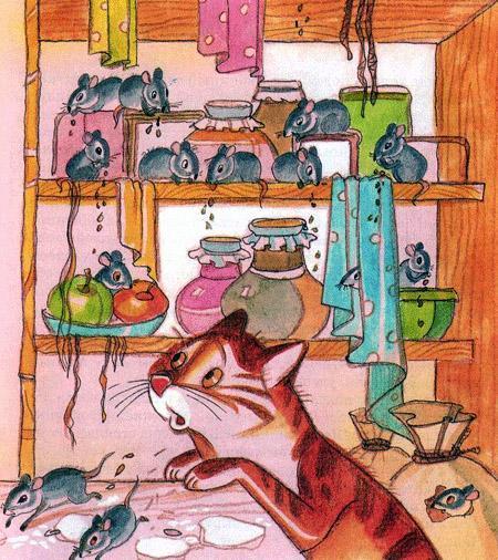 мыши и кошка в кладовой