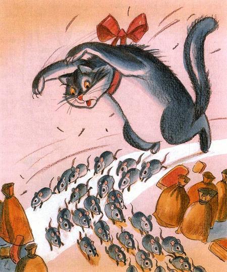 мыши убегают от кота
