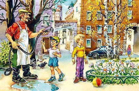 дети во дворе дворник поливает клумбу