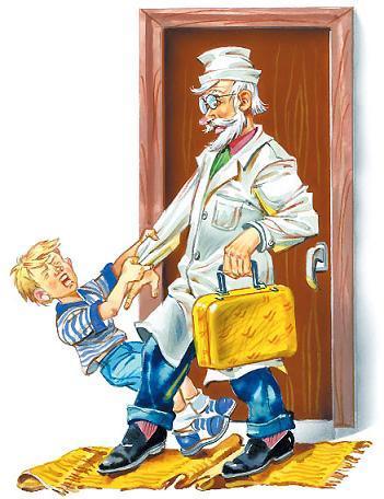 Детский Доктор с жёлтым чемоданчиком и мальчик тащит за руку