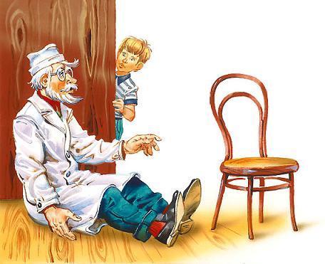 Детский Доктор и сел на пол рядом со стулом.