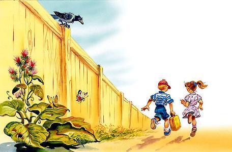 Петька и Тома бежали вдоль длинного забора.