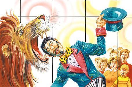 голова дрессировщика в пасти льва