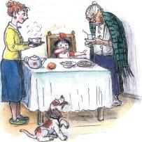 девочка, семья, бабушка, обед, ужин, завтрак