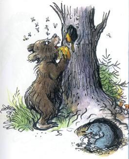 медведь, ест, мед, пчелы, дупло