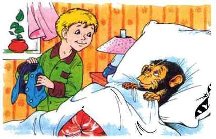 обезьянка в постели