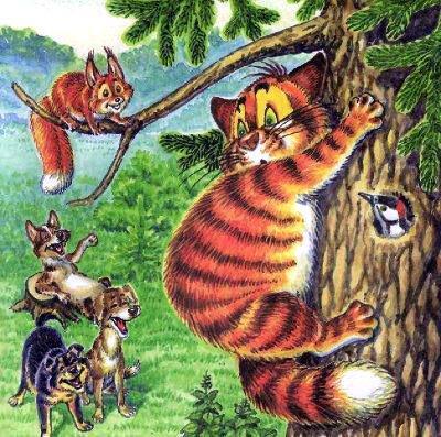 кот Пузик залез на дерево спасаясь от псов