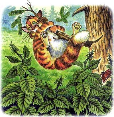 кот Пузик падает с дерева ветка сломалась под его весом