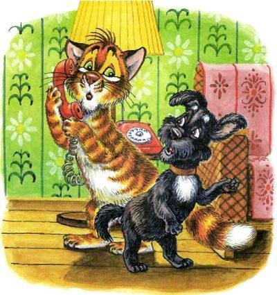 кот Пузик и пёс Тузик звонят по телефону