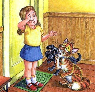 кот Пузик и пёс Тузик и девочка