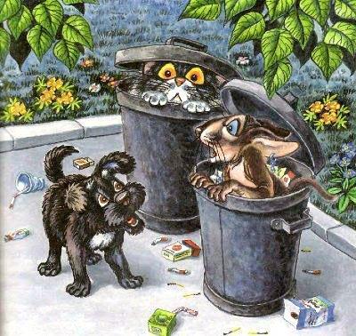 коты в мусорке и пёс Тузик