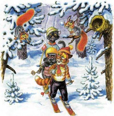кот Пузик и пёс Тузик и Кошка бегут по лесу на лыжах