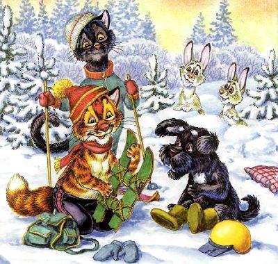 кот Пузик и пёс Тузик делают из лыж санки
