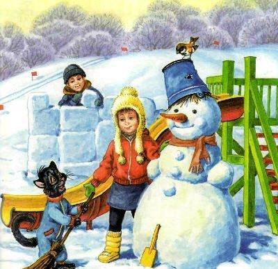 кот Пузик и пёс Тузик снеговик