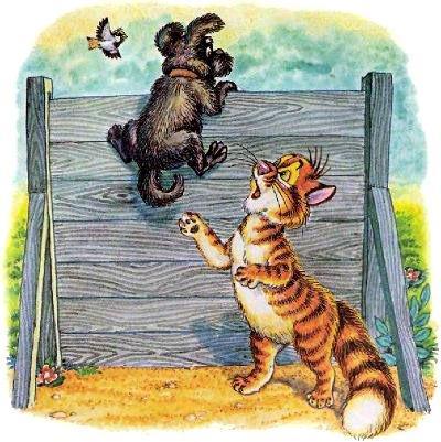 кот Пузик и пёс Тузик застрял на барьере