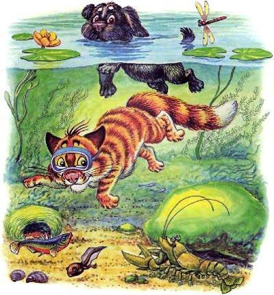 кот Пузик и пёс Тузик плавают в озере