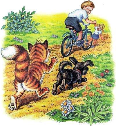 кот Пузик и пёс Тузик преследуют мальчика на велосипеде