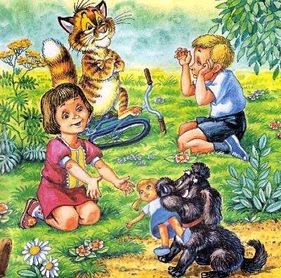 кот Пузик и пёс Тузик возвращают куклу хозяйке
