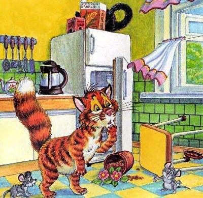 кот Пузик на кухне ветер открыл окно
