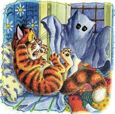 кот Пузик испугался привидения