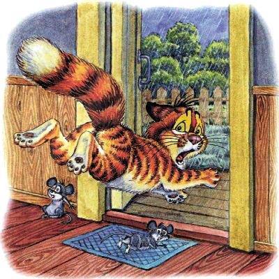 кот Пузик бежит из дома через открытую дверь