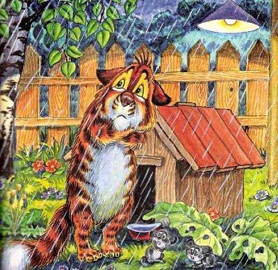 кот Пузик у будки ночью под дождем