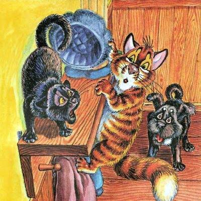 кот Пузик поднял шапку а там кошка а пёс Тузик внизу