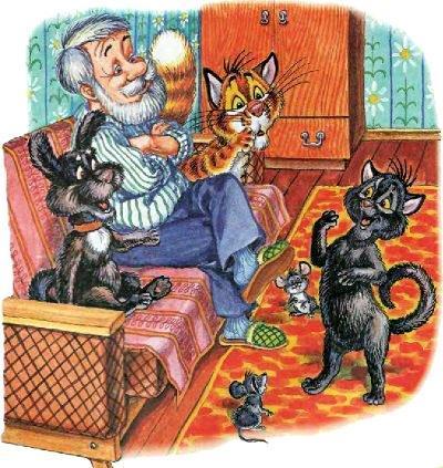 кот Пузик дедушка пёс Тузик сидят на диване и кошка