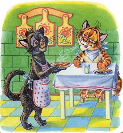 кошка несет вареные сосиски коту Пузику