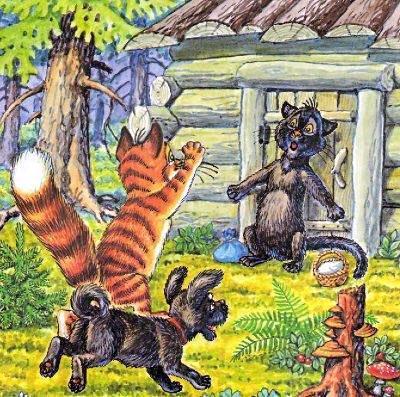 кот Пузик и пёс Тузик застали кошку