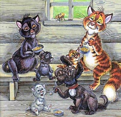 кот Пузик и пёс Тузик кошка и котята