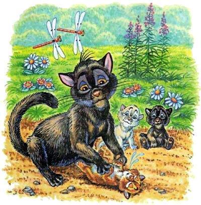 кошка возвращает котят к жизни
