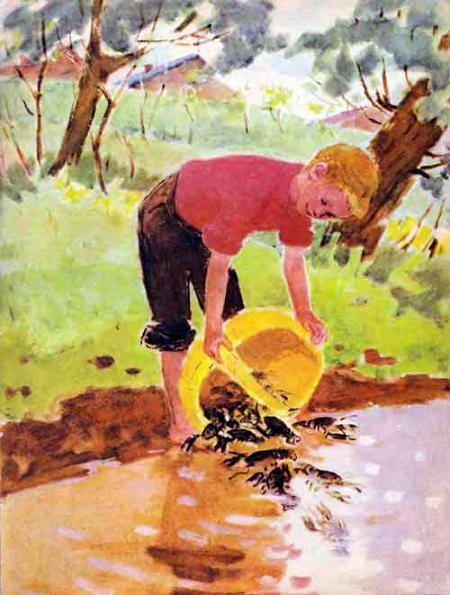 мальчик выпускает раков в воду