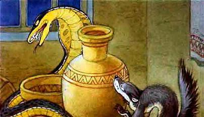 Рикки-Тикки-Тави Наг обвился вокруг большого кувшина