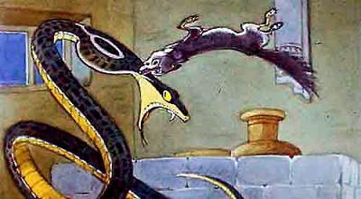 Он сделал прыжок. Голова змеи лежала чуть-чуть на отлете; прокусив ее зубами, Рикки-Тикки мог упереться спиной в выступ глиняного кувшина и не дать голове подняться с земли.