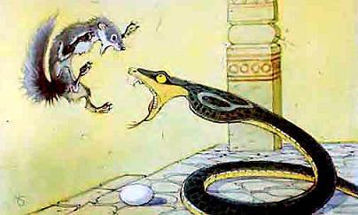 мангуст Рикки-Тикки-Тави и Нагайна борятся за яйцо