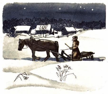 зима деревня лошадь поводья