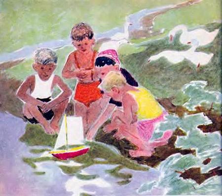 дети запускают кораблик в ручей