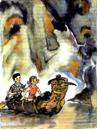Фред Элли Тотошка плывут на лодке по реке в подземелье