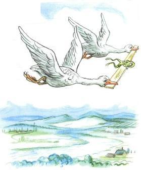 лягушка путешественница с гусями в полете