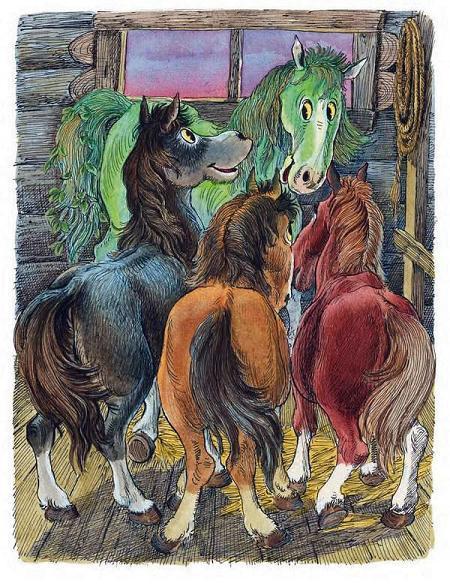 Зелёная Лошадь на конюшне