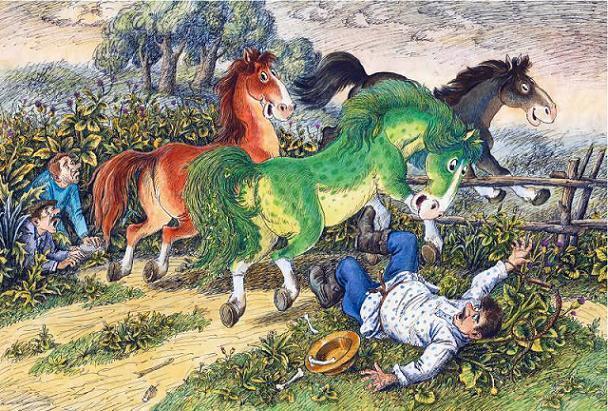 вырвался Конь Вороной и сшиб Подушкина с ног, а за ним и остальные лошади работников пораскидали, и последней выбежала Зелёная Лошадь
