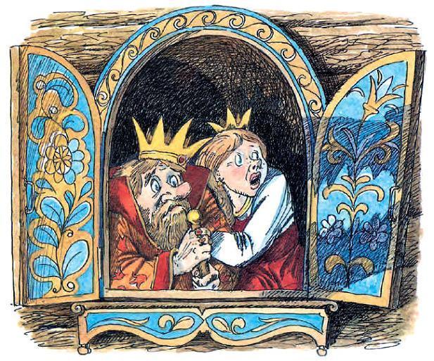 Король и принцесса испуганно выглядывали из окошка и просто не знали, что тут поделать.