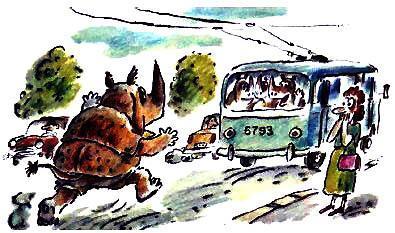 носорог бежит за тролейбусом