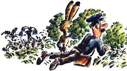контролер и заяц следят из кустов