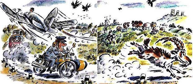 милиционер на мотоцикле преследует убегающего козла