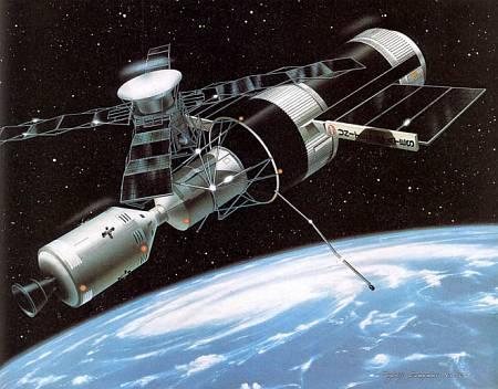 Космическая станция «Скайлэб» была в 70-х годах центром солнечных исследований. Вдали от земной атмосферы можно было изучать излучение Солнца во всех диапазонах.